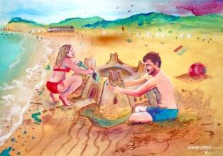 Vrij werk: Anne met Chris op het strand