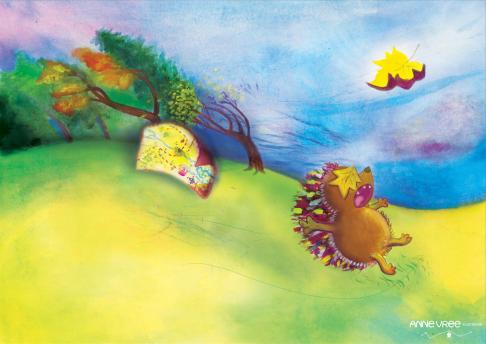Illustratie uit mijn prentenboek, 'Daarheen, kleine Egel!'